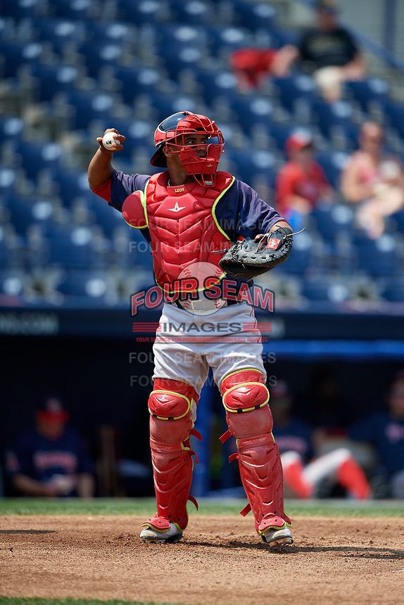 Portland Sea Dogs catcher Jhon Nunez (20) throws the ball back to the pitcher during the second game of a doubleheader against the Reading Fightin Phils on May 15, 2018 at FirstEnergy Stadium in Reading, Pennsylvania.  Reading defeated Portland 9-8.  (Mike Janes/Four Seam Images)