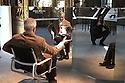 Italian designer Alberto Meda, pose for a photograher sits on his dynamic chair - Physix - at one of the halls of Palazzo Litta, in Milan, April 2016. Palazzo Litta is one of the setting where are showed the contemporary design of Fuorisalone, the exhibitions that every year place side by side the Salone del mobile. &copy; Carlo Cerchiioli<br /> <br /> Alberto Meda designer italiano, posa per un fotografo seduto sulla sua sedia dinamica - Physix - in uno dei saloni di Palazzo Litta a Milano, aprile 2016. Palazzo Litta &egrave; uno dei luoghi dove vengono tenute le mostre di design contemporaneo del Fuorisalone, la serie di manifestazioni che affiancano il Salone del mobile.
