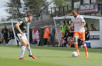 Blackpool's Nathan Delfouneso under pressure from Plymouth Argyle's Joe Riley<br /> <br /> Photographer Kevin Barnes/CameraSport<br /> <br /> The EFL Sky Bet League One - Plymouth Argyle v Blackpool - Saturday 15th September 2018 - Home Park - Plymouth<br /> <br /> World Copyright &copy; 2018 CameraSport. All rights reserved. 43 Linden Ave. Countesthorpe. Leicester. England. LE8 5PG - Tel: +44 (0) 116 277 4147 - admin@camerasport.com - www.camerasport.com