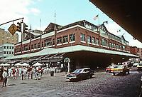 "New York: South Street Seaport, Fulton Market Building, 1983. Benjamin  Thompson & Assoc. Restaurants. ""Engaging the spirit of original...razed in 1948."" Photo '91."