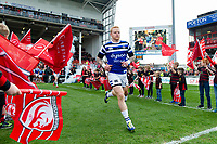 Tom Homer and the rest of the Bath Rugby team run onto the field for the start of the match. Gallagher Premiership match, between Gloucester Rugby and Bath Rugby on April 13, 2019 at Kingsholm Stadium in Gloucester, England. Photo by: Patrick Khachfe / Onside Images