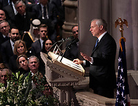 Presidential historian and biographer Jon Meacham delivers a eulogy at the state funeral service of former President George W. Bush at the National Cathedral.<br /> Credit: Chris Kleponis / Pool via CNP / MediaPunch