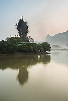 Kyauk Kalap Buddhist Temple in the middle of a lake at sunrise, Hpa An, Kayin State (Karen State), Myanmar (Burma)