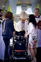 Pope Confirmation sick girl.Pope Francis visits the Roman parish of Santissimo Sacramento in the Rome  suburb Torre dei Schiavi, for a pastoral visit on May 6, 2018