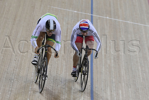 05.03.2016. Lee Valley Velo Centre, Lnodn England. UCI Track Cycling World Championships Mens Individual Sprint Final.    KENNY Jason (GBR) and GLAETZER Matthew (AUS) fight out the final