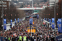 Pictured: Swansea and Bradford supporters outside Wembley stadium.