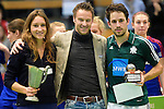 GER - Luebeck, Germany, February 07: During the prize giving ceremony at the Final 4 on February 7, 2016 at Hansehalle Luebeck in Luebeck, Germany. (Photo by Dirk Markgraf / www.265-images.com) *** Local caption *** Best Players of the Final4: (L-R) Lisa-Marie Schuetze #19 of Duesseldorfer HC, Bundestrainer Valentin Altenburg, Benedikt Fuerk #12 of HTC Uhlenhorst Muehlheim