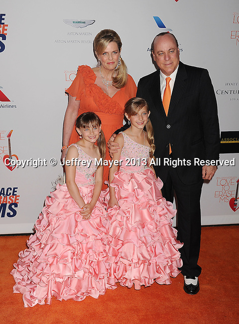 CENTURY CITY, CA- MAY 03: Nancy Davis, Ken Rickel, Isabella Rickel and Ariana Rickel arrive at the 20th Annual Race To Erase MS Gala 'Love To Erase MS' at the Hyatt Regency Century Plaza on May 3, 2013 in Century City, California.