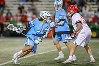 College Park, MD - April 27, 2019: John Hopkins Bluejays attack Brett Baskin (1) runs with the ball during the game between John Hopkins and Maryland at  Capital One Field at Maryland Stadium in College Park, MD.  (Photo by Elliott Brown/Media Images International)
