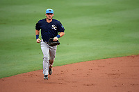 Charlotte Stone Crabs center fielder Thomas Milone (22) jogs back to the dugout during a game against the Palm Beach Cardinals on July 22, 2017 at Roger Dean Stadium in Palm Beach, Florida.  Charlotte defeated Palm Beach 5-2.  (Mike Janes/Four Seam Images)