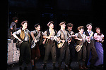Curtain Call - The Newsies at The Paper Mill Playhouse on October 2, 2010 in Millburn, New Jersey with current cast members and cast members of the film. It was a day of events to all devoted fans of Newsies - Radio Disney at 4 pm, executive reception for members of the original cast of Newsies (the movie) followed by a talkback, Q&A in the theater - all this followed by the evening performance of Newsies with the Curtain Call, old cast meets new cast and a cast photo of all. (Photo by Sue Coflin/Max Photos)