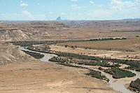 San Juan River with Shiprock in distance. San Juan County, UT.  Aug 2014.  812656