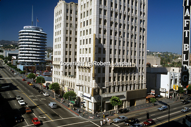 Hollywood and Vine St. looking north to the Capitol Records buiilding