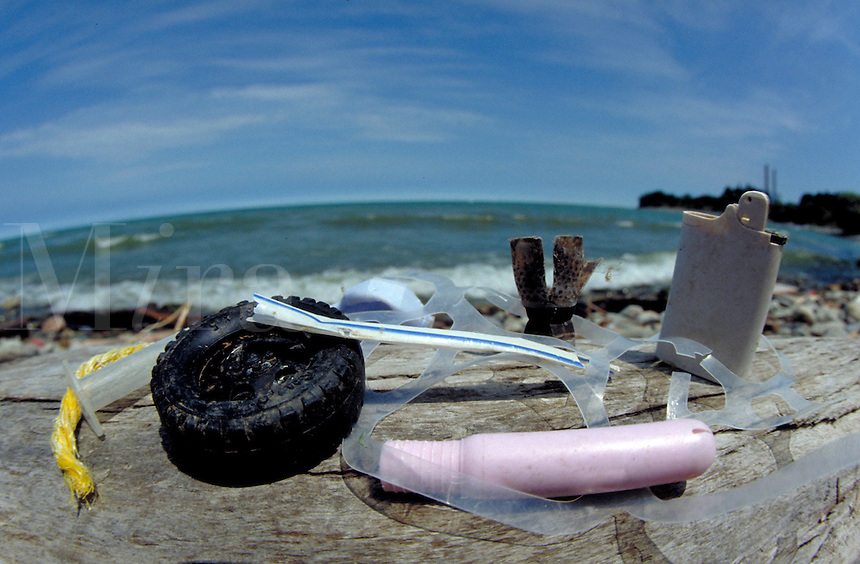 Examples of plastic trash washed up on the Atlantic Ocean's shore at Virginia Beach, VA. Environment.
