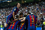 Leo Messi , Sergio Busquets of FC Barcelona celebrates after scoring a goal during the match of La Liga between Real Madrid and Futbol Club Barcelona at Santiago Bernabeu Stadium  in Madrid, Spain. April 23, 2017. (ALTERPHOTOS)