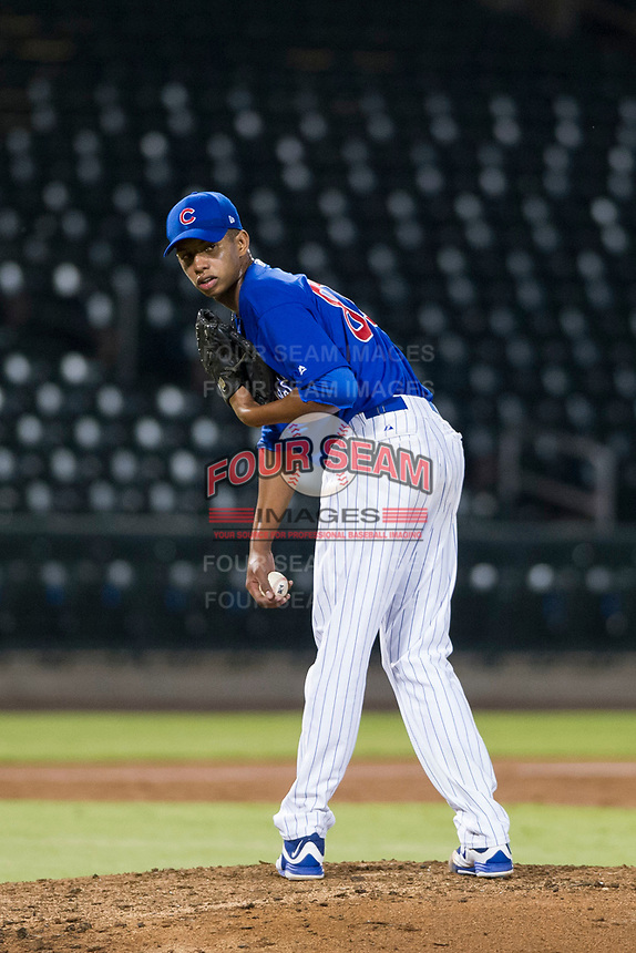 AZL Cubs relief pitcher Eury Ramos (81) checks the runner at first base during a game against the AZL Giants on September 6, 2017 at Sloan Park in Mesa, Arizona. AZL Giants defeated the AZL Cubs 6-5 to even up the Arizona League Championship Series at one game a piece. (Zachary Lucy/Four Seam Images)