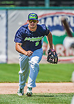 8 July 2014: Vermont Lake Monsters infielder Max Kuhn in action against the Lowell Spinners at Centennial Field in Burlington, Vermont. The Lake Monsters rallied with two runs in the 9th to defeat the Spinners 5-4 in NY Penn League action. Mandatory Credit: Ed Wolfstein Photo *** RAW Image File Available ****