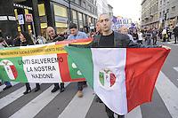 - Milano, manifestazione del partito xenofobo e razzista Lega Nord contro contro l'immigrazione.<br /> <br /> - Milan, demonstration of xenophobe and racist party Lega Nord against immigration.