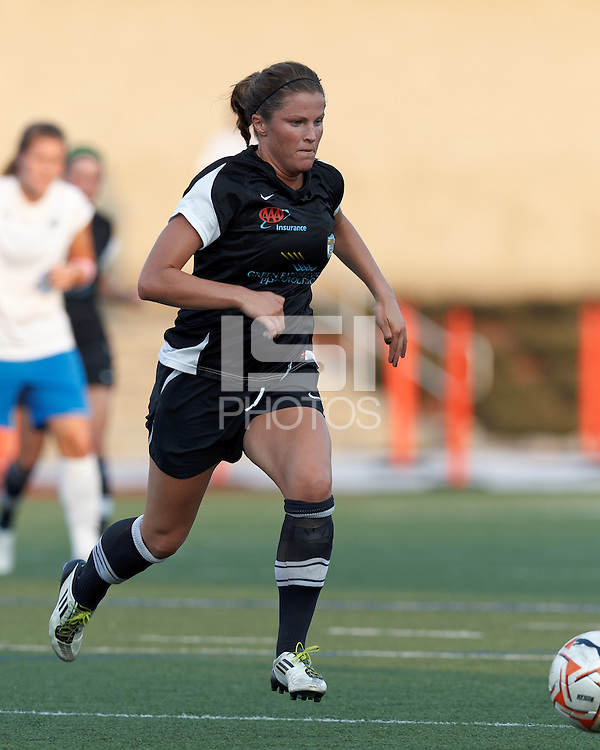 New England Mutiny defender Kelsey Hood (22) brings the ball forward. In a Women's Premier Soccer League Elite (WPSL) match, the Boston Breakers defeated New England Mutiny, 4-2, at Dilboy Stadium on June 20, 2012.