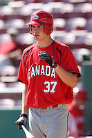 Team Canada Cory Scammell #37 during a game vs the Nexen Heroes at Al Lang Field in St. Petersburg, Florida;  February 28, 2011.  Canada defeated Nexen 2-0.  Photo By Mike Janes/Four Seam Images