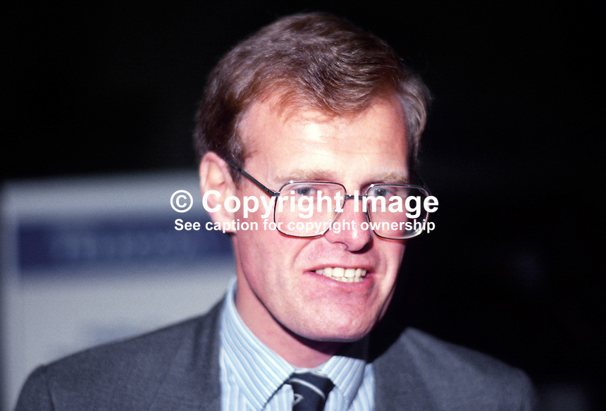 Christopher Chope, MP, Conservative Party, junior environment minister, 19871015CC.<br /> <br /> Copyright Image from Victor Patterson, 54 Dorchester Park, Belfast, UK, BT9 6RJ<br /> <br /> t1: +44 28 9066 1296 (from Rep of Ireland 048 9066 1296)<br /> t2: +44 28 9002 2446 (from Rep of Ireland 048 9002 2446)<br /> m: +44 7802 353836<br /> <br /> e1: victorpatterson@me.com<br /> e2: victorpatterson@gmail.com<br /> <br /> The use of any of my copyright images is subject to my Terms &amp; Conditions. It is IMPORTANT that you familiarise yourself with them. They are available at my website, victorpatterson.com.<br /> <br /> None of my copyright images may be used on the Internet unless they are visibly watermarked, i.e. &copy; Victor Patterson within the body of the image. My metadata, denoting my copyright must NOT be deleted. <br /> <br /> Web use is extra at currently recommended NUJ rates. Maximum permitted web size is<br />  400kb. <br /> <br /> Images must not be passed on to a third party - they are for the use of the authorised recipient only.