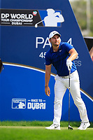 Jordan Smith (ENG) on the 1st tee during the 2nd round of the DP World Tour Championship, Jumeirah Golf Estates, Dubai, United Arab Emirates. 16/11/2018<br /> Picture: Golffile | Fran Caffrey<br /> <br /> <br /> All photo usage must carry mandatory copyright credit (© Golffile | Fran Caffrey)