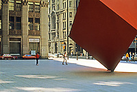 New York: Isamu Noguchi's Red Cube, 1967,  and skaters.