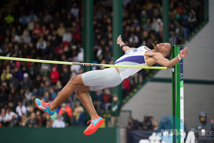 EUGENE, OR - JUNE 09: Christoff Bryan of Kansas State University competes in the high jump during the Division I Men's Outdoor Track & Field Championship held at Hayward Field on June 9, 2017 in Eugene, Oregon. Bryan won the event with a 2.21 meter jump. (Photo by Jamie Schwaberow/NCAA Photos via Getty Images)