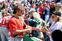 Washington Nationals shortstop Anthony Rendon #6 signs autographs before a Spring Training game against the Philadelphia Phillies at Bright House Field on March 6, 2013 in Clearwater, Florida.  Philadelphia defeated Washington 6-3.  (Mike Janes/Four Seam Images)