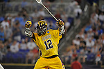 29 MAY 2011:  Sam Bradman (12) of Salisbury University celebrates a goal against Tufts University during the Division III Men's Lacrosse Championship held at M+T Bank Stadium in Baltimore, MD.  Salisbury defeated Tufts 19-7 for the national title. Larry French/NCAA Photos