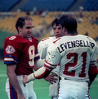 Gerry Dattilio Montreal Concordes Greg Vavra Mike Levenseller Calgary Stampeders 1984. Photo F. Scott Grant