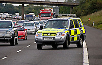 Highways Agency Mitsubshi Shogun parked in a fend off position in lane one of the M40. This image may only be used to portray the subject in a positive manner..©shoutpictures.com..john@shoutpictures.com