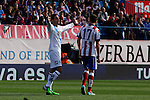 Atletico de Madrid´s Saul Niguez (R) and Deportivo de la Coruña´s Rodriguez during 2014-15 La Liga match between Atletico de Madrid and Deportivo de la Coruña at Vicente Calderon stadium in Madrid, Spain. November 30, 2014. (ALTERPHOTOS/Victor Blanco)