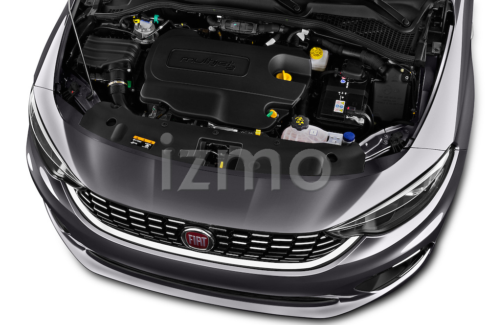 Car Stock 2016 Fiat Tipo Lounge 5 Door Hatchback Engine  high angle detail view