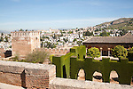View over the Alhambra to Moorish houses in the Albaicin district of Granada, Spain