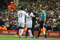 Eder is substituted for Bafetibis Gomis during the Barclays Premier League Match between Liverpool and Swansea City played at Anfield, Liverpool on 29th November 2015