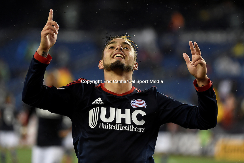May 31, 2015 - Foxborough, Massachusetts, U.S. - New England Revolution forward Diego Fagundez (14) celebrates his first half goal during the MLS game between Los Angeles Galaxy and the New England Revolution held at Gillette Stadium in Foxborough Massachusetts. Eric Canha/CSM