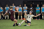 Bayley Feist (9) of the Wake Forest Demon Deacons battles for the ball with Lindsey Lane (73) of the South Carolina Gamecocks during second half action at Spry Soccer Stadium on August 24, 2017 in Winston-Salem, North Carolina.  The Demon Deacons defeated the Gamecocks 3-2.  (Brian Westerholt/Sports On Film)