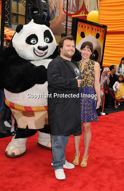 "HOLLYWOOD, {CA} -MAY 22: Jack Black and Tanya Haden arrive at the Los Angeles premiere of ""Kung Fu Panda 2"" held at Grauman's Chinese Theatre on May 22, 2011 in Hollywood, California."