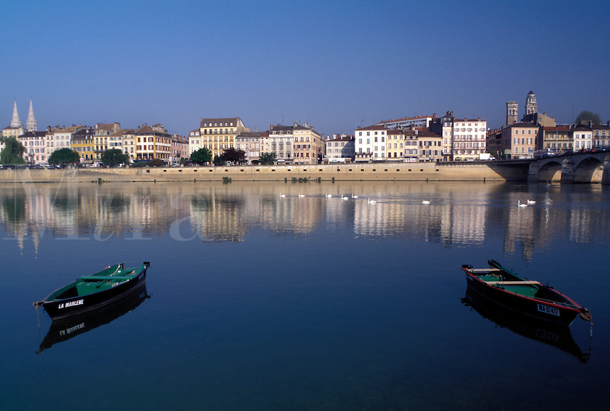 Burgundy, Macon, France, Bourgogne, Saone-et-Loire, Europe, wine region, Scenic view of the city of Macon along the Saone River.