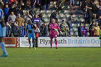 Barry Richardson of Wycombe Wanderers celebrates with Marcus Bean at full time of the Sky Bet League 2 match between Plymouth Argyle and Wycombe Wanderers at Home Park, Plymouth, England on 30 January 2016. Photo by Mark  Hawkins / PRiME Media Images.