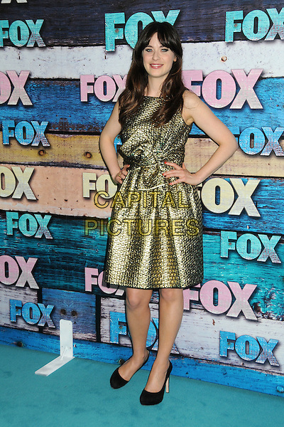 Zooey Deschanel.Fox All-Star Party - Summer 2012 held at Private Location, West Hollywood, California, USA..July 23rd, 2012.full length gold sleeveless dress hands on hips.CAP/ADM/BP.©Byron Purvis/AdMedia/Capital Pictures.
