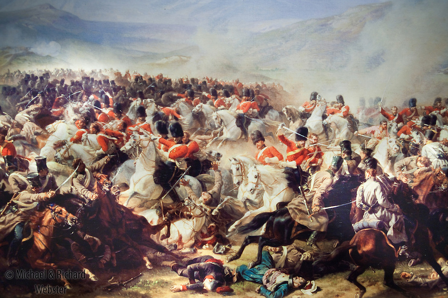 Charge of the heavy brigade, attacking the Russians. Battle of Waterloo June 15th 1815.