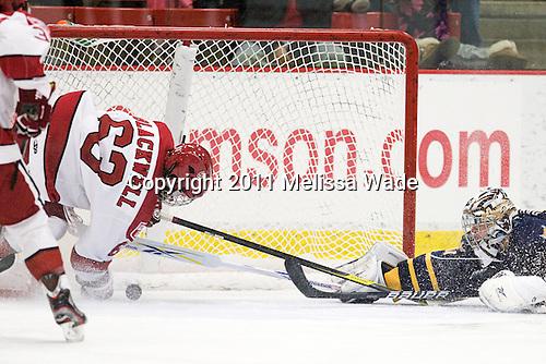 Colin Blackwell (Harvard - 63), Eric Hartzell (Quinnipiac - 33) - The Harvard University Crimson and Quinnipiac University Bobcats played to a 2-2 tie on Saturday, November 5, 2011, at Bright Hockey Center in Cambridge, Massachusetts.