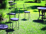 Tables and chairs in a garden