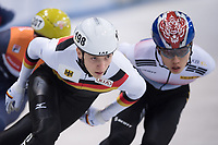 1st February 2019, Dresden, Saxony, Germany; World Short Track Speed Skating; 1000 meters men in the EnergieVerbund Arena. Robin Tenzer (M) from Germany runs in a curve.