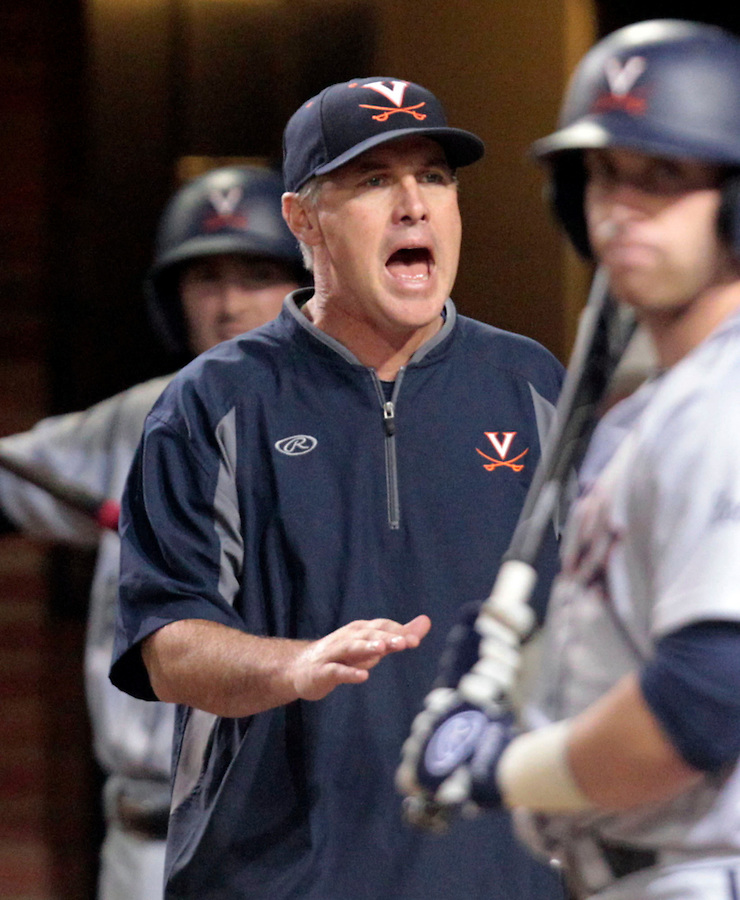 Virginia head coach Brian O'Connor calls for the umpire during an NCAA college baseball regional tournament game against Arkansas in Charlottesville, VA., Sunday, June 1, 2014. (Photo/Andrew Shurtleff)