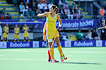 The Hague, Netherlands, June 12: Anna Flanagan #9 of Australia celebrates after scoring a penalty corner for leading 1-2 during the field hockey semi-final match (Women) between USA and Australia on June 12, 2014 during the World Cup 2014 at Kyocera Stadium in The Hague, Netherlands. Final score after full time 2-2 (0-1). Score after shoot-out 1-3. (Photo by Dirk Markgraf / www.265-images.com) *** Local caption ***
