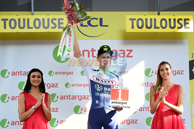 Aime De Gendt (BEL) Wanty-Gobert wins the day's combativity prize at the end of Stage 11 of the 2019 Tour de France running 167km from Albi to Toulouse, France. 17th July 2019.<br /> Picture: ASO/Alex Broadway | Cyclefile<br /> All photos usage must carry mandatory copyright credit (© Cyclefile | ASO/Alex Broadway)