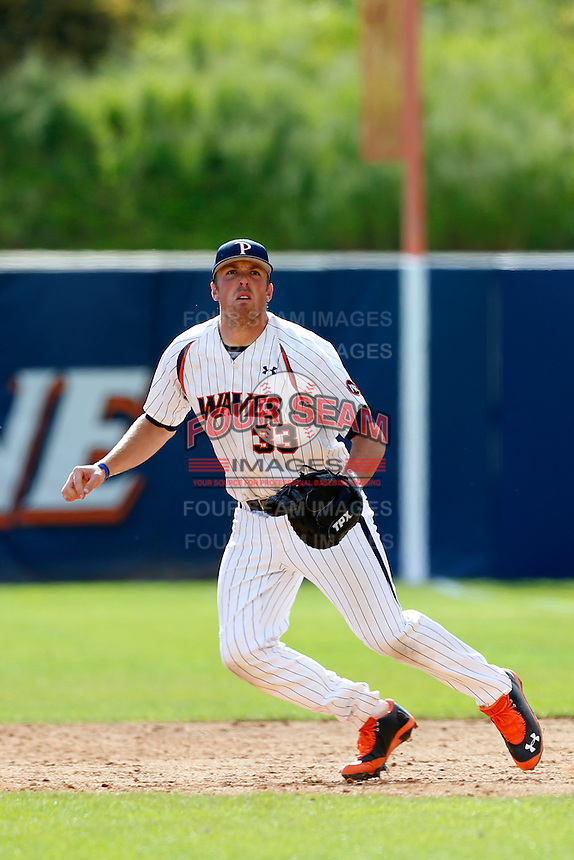 Sam Meyer #33 of the Pepperdine Waves during a game against the Seton Hall Pirates at Eddy D. Field Stadium on March 8, 2013 in Malibu, California. (Larry Goren/Four Seam Images)